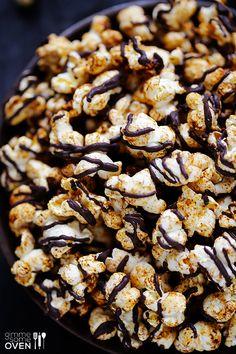 Spiced Chocolate Popcorn (Popcorn, Chili Powder, Sumin, Salt, Cayenne, Butter, Dark or Semi Sweet Chocolate)   gimmesomeoven.com