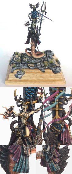 Dark Elf High Sorceress on Steed of Slaanesh