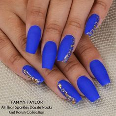 Tammy Taylor Bonaire Blue Prizma with Manic Matte Top Coat and Gilded Top Gel from the All That Sparkles Collection! tammytaylornails.com