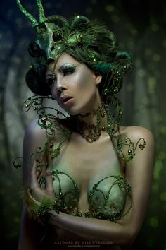 Green w envy - Absinthe Fairy by =Ophelia-Overdose on deviantART Absinthe Fairy, Idda Van Munster, Green Fairy, Cosplay, Creative Photos, Over Dose, Costume Makeup, Sculpture, Hottest Models