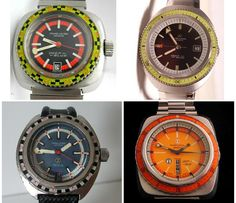 4 of great dive watches by Favre-Leuba, all from the Deep Blue series from the 1970's. Love them, can't find them...:(