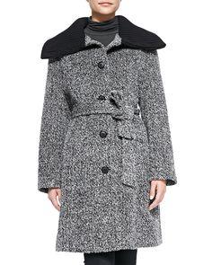 Neiman Marcus Knit-Trim Cowl-Collar Princess Coat, Women's, Size: 4, Black/White