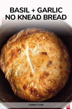 hours · Vegetarian · Serves 5 · This easy Basil and Garlic No Knead Bread has a crispy exterior and soft interior! It's so simple and only takes a couple minutes to put together. No mixer needed. Artisan Bread Recipes, Dutch Oven Recipes, Baking Recipes, Bread Bun, Easy Bread, Bread Rolls, Pain Artisanal, Dutch Oven Bread, Best Bread Recipe