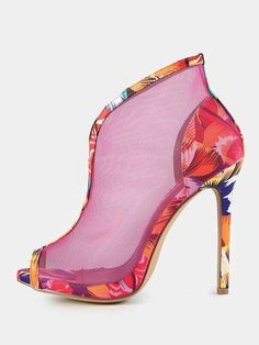 SheIn offers Colorpop Mesh Peep Toe Booties MULTI & more to fit your fashionable needs. High Heels Stilettos, High Heel Boots, Shoe Boots, Shoes Heels, Flats, Yellow Dress Shoes, Crazy Shoes, Womens High Heels, Beautiful Shoes