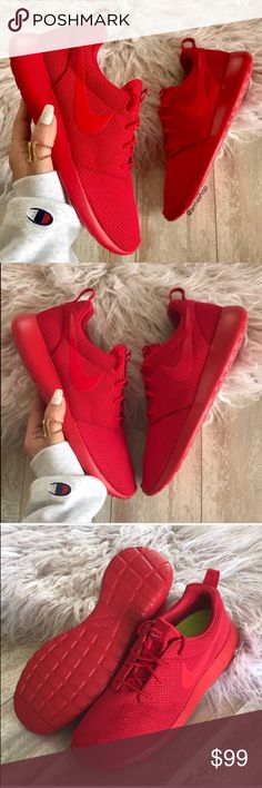 NWT💄Nike ID Roshe triple red custom Brand new no box,price is firm!!custom made Nike ID. Everywhere you look, you can see ladies rocking a pair of women's Roshe Ones. They're one of the most versatile shoes from Nike. Wear them with or without socks, dress them up or down — the Roshe One can do it all. Its superior ventilation comes from the ultra-lightweight mesh textile or suede upper, offering you the breathability your feet need.  The full-length Phylon™ midsole provides all-day comfort…