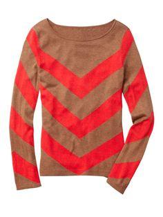 C. Wonder - Chevron Intarsia Knit Sweater, Vicuna Heather /Guava