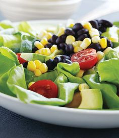 Baby lettuce and snow pea salad