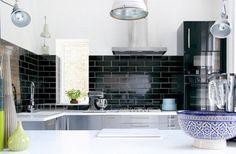 Black Color Subway Tile Backsplash in White Kitchen