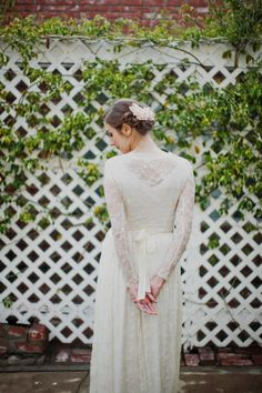 Long Sleeved Stretch Lace Wedding Gown - Le Nouveau Gown - Made to Order. $1,080.00, via Etsy.