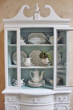 painted furniture china cabinet shabby chic, home decor, painted furniture White China Cabinets, China Cabinet Redo, Painted China Cabinets, China Cabinet Display, How To Display China In A Hutch, Rustic China Cabinet, China Cabinet Makeovers, Repurposed China Cabinet, Corner China Cabinets