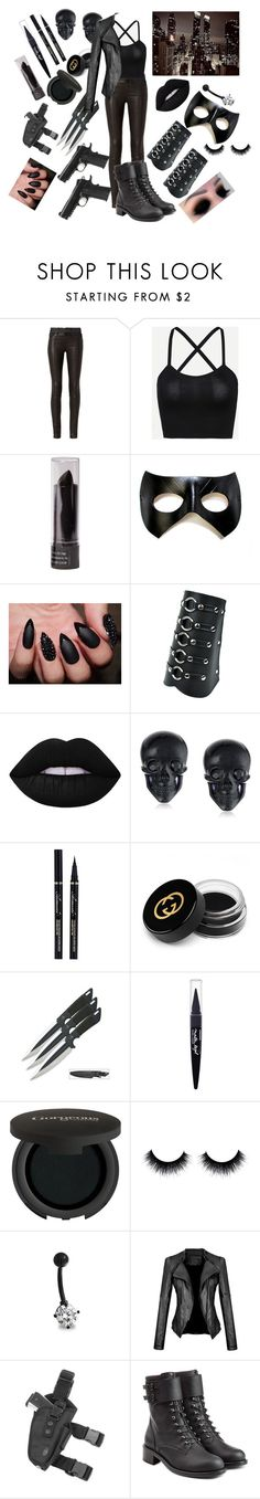 """Black Widdow (Jokers girl)"" by shaya-bvb-4-life ❤ liked on Polyvore featuring rag & bone, Lime Crime, Tarina Tarantino, Gucci, Maybelline, Gorgeous Cosmetics, Bling Jewelry and Philosophy di Lorenzo Serafini"