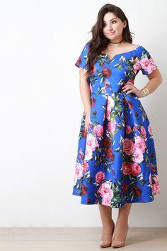 Neoprene Rosette V-Wire Pleated Bardot Dress