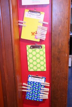 Or, set up a similar system using clip boards and clothes pins. | 40 Smart Tricks To Keep Your Kids Organized