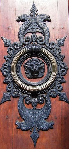 French Lion Iron And Brass Door Knocker