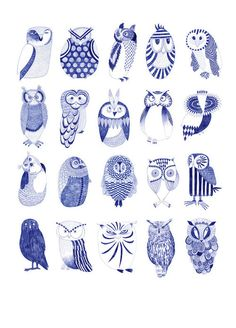 blue willow owls