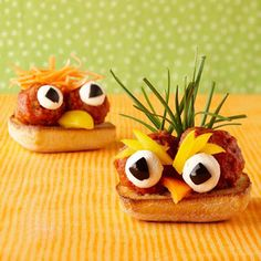 Kids love adding personality to their open-faced sandwiches! Bonus: They're decorating with healthy veggies. Get the #recipe for Meatball Cuckoos: http://www.parents.com/recipes/holidays/halloween/halloween-treats-kids-can-make/?socsrc=pmmpin101112fMeatballCuckoos#page=8