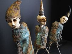 The magical Lisa Rinner Ceramic Figures, Clay Figures, Ceramic Art, Sculptures Céramiques, Art Sculpture, Ceramic Sculptures, Marionette, Paperclay, Creepy Dolls
