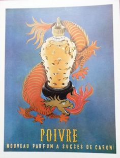 Original Vintage French Ad Caron Poivre Parfum 1954 Dragon by reveriefrance on Etsy