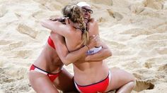 United States Kerri Walsh Jennings, right, and Misty May-Treanor celebrate after defeating April Ross and Jennifer Kessy in a womens gold medal beach volleyball match at the 2012 Summer Olympics, London, Wednesday, Aug. 8, 2012.