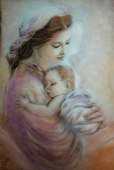 Mother Mary and Baby Jesus Religious Pictures, Jesus Pictures, Blessed Mother Mary, Blessed Virgin Mary, Catholic Art, Religious Art, Queen Of Heaven, Mama Mary, Mary And Jesus