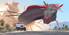 Car and Worms, near Amargosa.  More at www.simonstalenhag.se