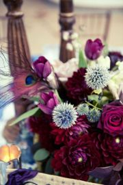 Beautiful centerpiece with peacock feather