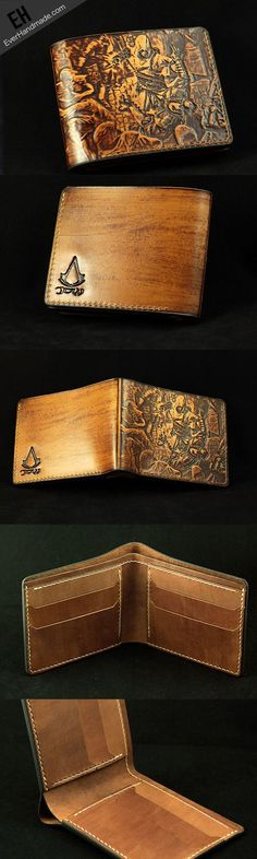 #Assassin's Creed Handmade leather Assassin's Creed Carved short wallet for men So stunning!!!!!!!!!