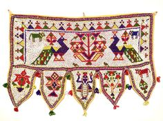 Hand-beaded toran from Gujarat, India. Could be used as a wall hanging or over a door or window. Textile Texture, Diwali Decorations, World Cultures, Decor Crafts, Hand Embroidery, Folk Art, Handmade Items, My Etsy Shop, Textiles