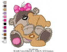 Un calin Machine Embroidery Patterns, Embroidery Designs, Punch Needle, Baby Kids, Teddy Bear, Quilts, Hug, Turquoise, Sport