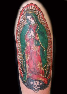 What I wanted, full color, on my back...full back...I was young, don't judge!  Old School Virgin de Guadalupe Tattoo by PauloTattoos, via Flickr
