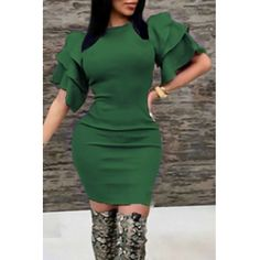 77afc9e64aec USD10.49 Sexy Round Neck Ruffle Sleeves Green Polyester Knee Length Dress  Wholesale Shoes
