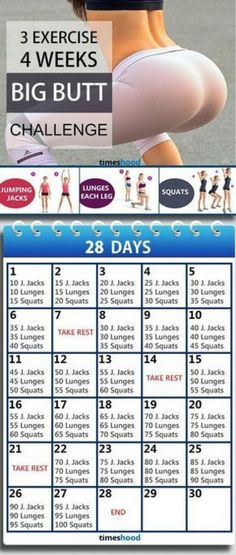 3 Exercise and 4 Weeks Butt workout plan for fast results. Butt workout for beginners. Butt workout challenge at home without any instruments. Workouts 3 Exercise and 4 Weeks: Bigger Butt Workout Challenge Workout Plan For Beginners, At Home Workout Plan, Workout Plans, Beginners Cardio, Smaller Butt Workout, Fun Workouts, At Home Workouts, Fitness Workouts, Fitness Classes