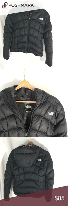 The north face black ski coat North face winter down jacket  Super warm  Size s/p  Beaked hood  The north face logo on front and back  Ski coat Puffer jack  Slight wear shown on second 4th photo  Overall great condition The North Face Jackets & Coats Puffers