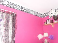 Zebra Print, Zebra Print Pink Walls Black Trim., Bedrooms Design with white  waines coating of paint on bottom half