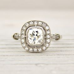..love..Old Cushion Cut 1 Carat Engagement Ring