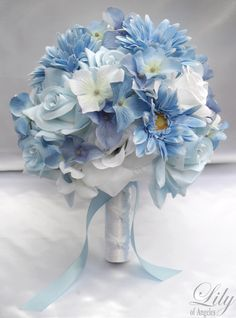 "17 Pieces Package Silk Flower Wedding Decoration Bridal Bouquet Blue Daisy ""Lily Of Angeles"". $199.99, via Etsy."