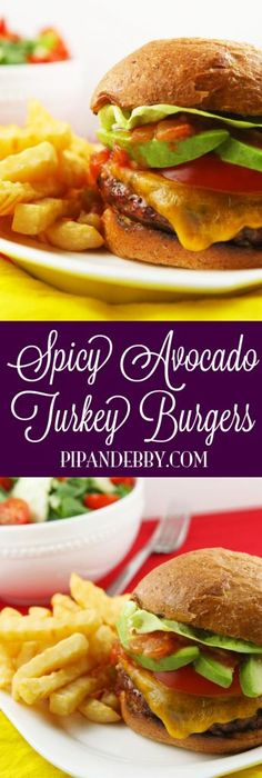 Spicy Avocado Turkey Burgers - here is a healthy, delicious burger for you! A bit of spice (optional), ground turkey and avocado slices...perfection!