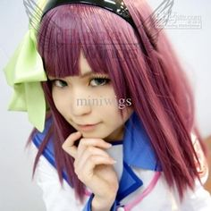Wholesale Cosplay Wig - Buy Angel Beats!Yuri Nakamura Yurippe 60CM Long Cosplay Wig Purplish Red Party Cotume Hair Coser, $21.6 | DHgate