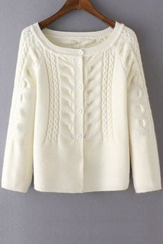 Cable-Knit Scoop Neck Long Sleeve Cardigan - WHITE ONE SIZE(FIT SIZE XS TO M)