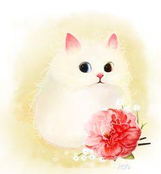 #cat #carnation #illust Carnations, Cats And Kittens, Bird, Cute, Animals, Gatos, Animales, Animaux, Birds
