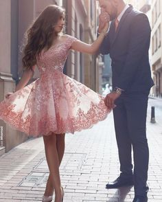 Sparkly Prom Dress, off shoulder short sleeves mini blush lace homecoming dress with appliques , These 2020 prom dresses include everything from sophisticated long prom gowns to short party dresses for prom. Short Sleeve Prom Dresses, Cute Homecoming Dresses, Hoco Dresses, Tulle Prom Dress, Pretty Dresses, Evening Dresses, Formal Dresses, Short Sleeves, Dress Lace