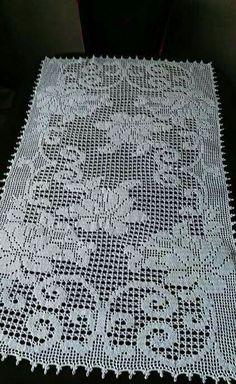 Filet Crochet, Crochet Lace Edging, Crochet Chart, Thread Crochet, Crochet Bedspread Pattern, Crochet Table Runner Pattern, Crochet Flower Patterns, Crochet Tablecloth, Vintage Crochet Dresses