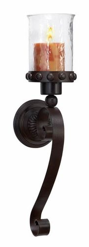 """NEW! Scrolled Tower of London Metal Wall Candle Sconce-Item Number: 1169590 Price: $45.97 Dimensions: 20""""H x 6""""W Color: Dark brown A scrolled candle sconce with glass candle votive cup is reminiscent of those that were once used to light the way in the mysterious Tower of London."""