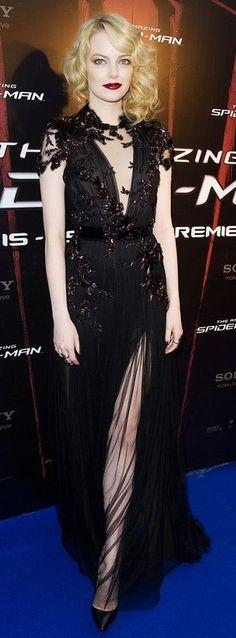 Black Emma Stone Red Carpet Maxi Dress