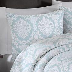 Aqua and white bedding damask print