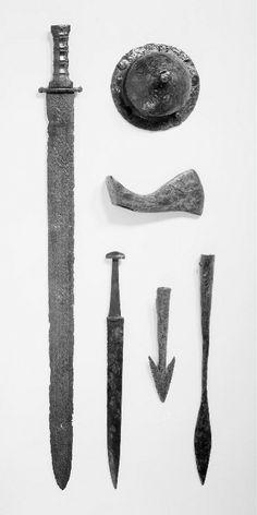 Objects from a frankish warrior grave in Nijmegen, 6th century, Rijksmuseum van Oudheden, Leiden, Netherlands