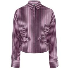 Tiller Shirt by Unique ($30) ❤ liked on Polyvore featuring tops, bright pink, oversized tops, striped shirts, stripe cotton shirt, shirt top and topshop tops
