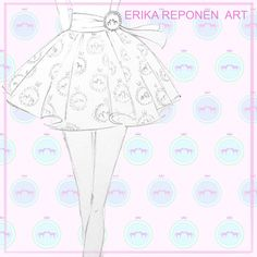 """Fabric design, fashion design and fashion illustration by Erika Reponen Art. Pattern is called """"Their Royal Heighnesses""""."""