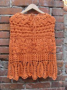 Buy Orange crochet linen skirt, Trendy crochet skirt, Boho Handmade Rustic Scirt by talitahandmade. Explore more products on http://talitahandmade.etsy.com