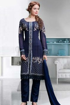 Navy blue Georgette Trouser Suit With Dupatta Navy blue, Georgette, semi stictch trouser suit. Allover embroidered with embroidered, resham, zari and stone work. U neck, Below knee length, full sleeves kameez. Navy blue, santoon trouser. Navy blue, chiffon dupatta with lace border with work. http://www.andaazfashion.co.uk/navy-blue-georgette-trouser-suit-with-dupatta-dmv13628.html